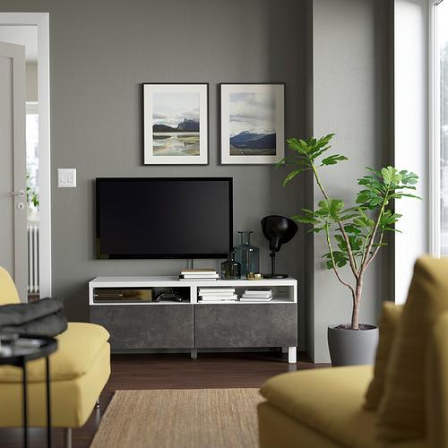 BESTÅ - TV bench with drawers, white/Kallviken/Stubbarp dark grey | IKEA Hong Kong and Macau - PE823737_S4