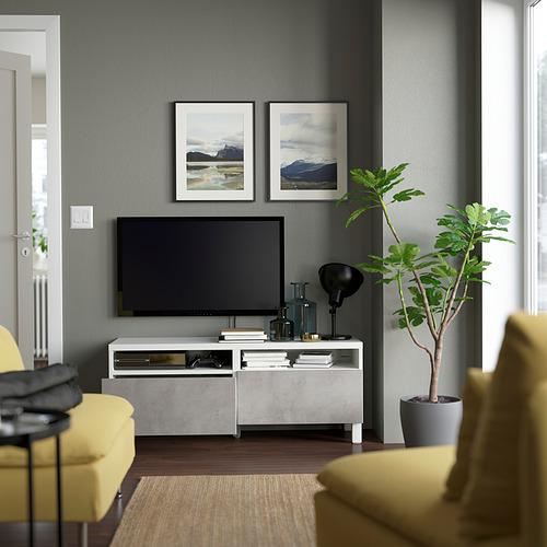 BESTÅ - TV bench with drawers, white/Kallviken/Stubbarp light grey | IKEA Hong Kong and Macau - PE823738_S4