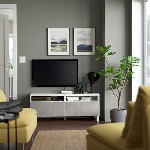BESTÅ - TV bench with drawers, white/Kallviken/Stubbarp light grey | IKEA Hong Kong and Macau - PE823800_S4