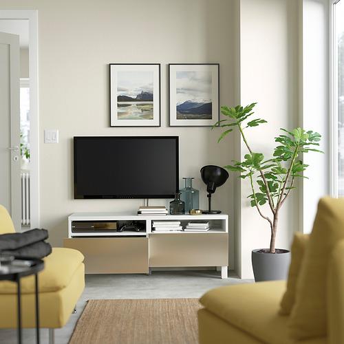 BESTÅ - TV bench with drawers, white/Riksviken/Stubbarp light bronze effect   IKEA Hong Kong and Macau - PE823751_S4