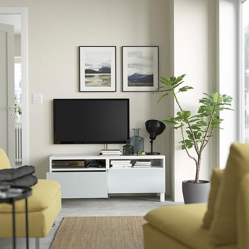 BESTÅ - 電視几連抽屜, white/Selsviken/Stubbarp light grey-blue   IKEA 香港及澳門 - PE823752_S4