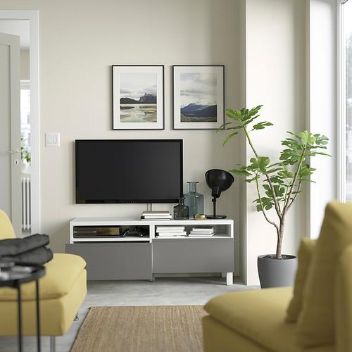 BESTÅ - 電視几連抽屜, white/Västerviken/Stubbarp dark grey   IKEA 香港及澳門 - PE823781_S4