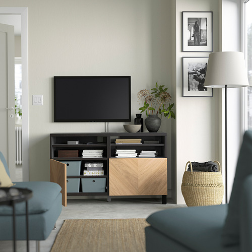 BESTÅ - 電視几連門, black-brown/Hedeviken/Stubbarp oak veneer   IKEA 香港及澳門 - PE823857_S4