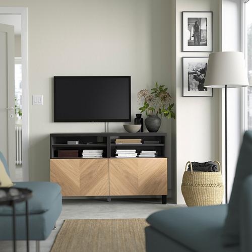 BESTÅ - 電視几連門, black-brown/Hedeviken/Stubbarp oak veneer   IKEA 香港及澳門 - PE823886_S4