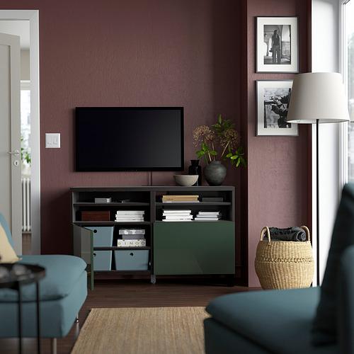 BESTÅ - TV bench with doors, black-brown/Selsviken/Stubbarp dark olive-green | IKEA Hong Kong and Macau - PE823873_S4