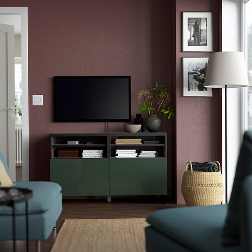 BESTÅ - TV bench with doors, black-brown/Selsviken/Stubbarp dark olive-green | IKEA Hong Kong and Macau - PE823891_S4