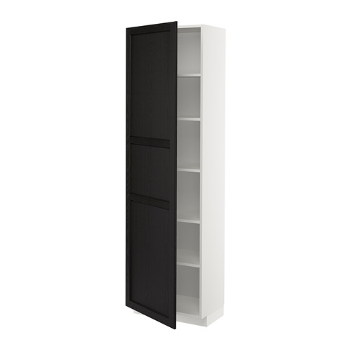 METOD - high cabinet with shelves, white/Lerhyttan black stained | IKEA Hong Kong and Macau - PE678267_S4