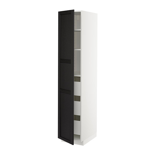 METOD/MAXIMERA - high cabinet with drawers, white/Lerhyttan black stained | IKEA Hong Kong and Macau - PE678273_S4