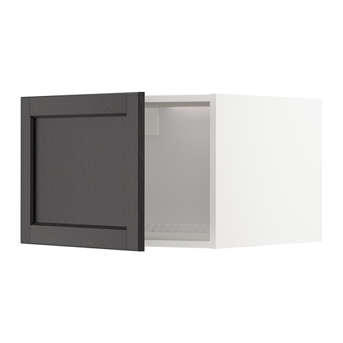 METOD - top cabinet for fridge/freezer, white/Lerhyttan black stained | IKEA Hong Kong and Macau - PE678281_S4