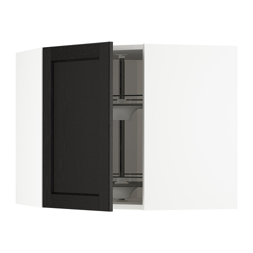 METOD - corner wall cabinet with carousel, white/Lerhyttan black stained | IKEA Hong Kong and Macau - PE678300_S4