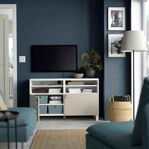 BESTÅ - TV bench with doors, white/Lappviken/Stubbarp light grey/beige   IKEA Hong Kong and Macau - PE823911_S4