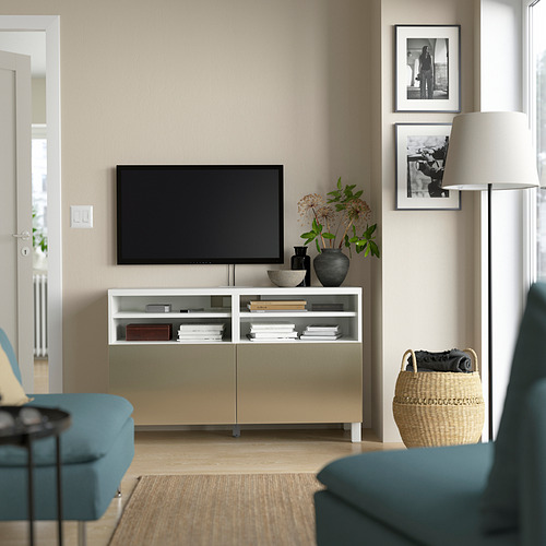BESTÅ - 電視几連門, white/Riksviken/Stubbarp light bronze effect | IKEA 香港及澳門 - PE823913_S4