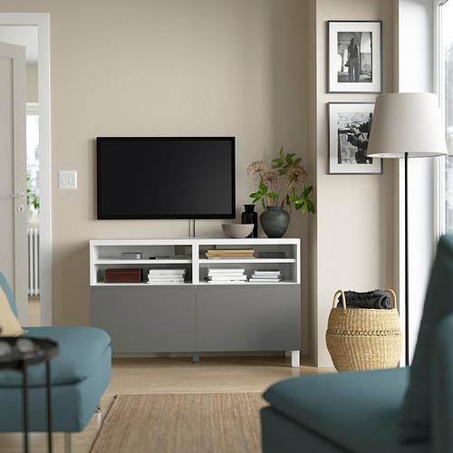 BESTÅ - TV bench with doors, white/Västerviken/Stubbarp dark grey | IKEA Hong Kong and Macau - PE823899_S4