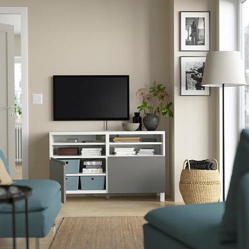 BESTÅ - TV bench with doors, white/Västerviken/Stubbarp dark grey | IKEA Hong Kong and Macau - PE823835_S4