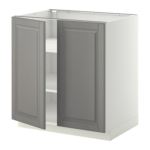 METOD - base cabinet with shelves/2 doors, white/Bodbyn grey | IKEA Hong Kong and Macau - PE357185_S4