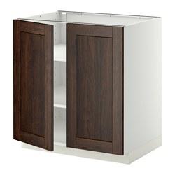 METOD - 地櫃連層板/一對門, 白色/Edserum 褐色   IKEA 香港及澳門 - PE357192_S3