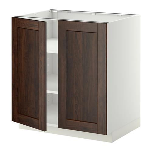 METOD - base cabinet with shelves/2 doors, white/Edserum brown | IKEA Hong Kong and Macau - PE357192_S4