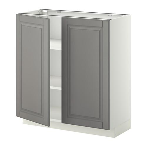 METOD - base cabinet with shelves/2 doors, white/Bodbyn grey | IKEA Hong Kong and Macau - PE353762_S4