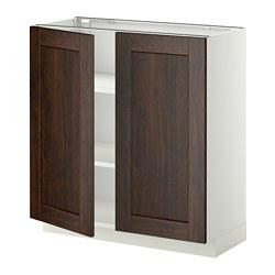 METOD - base cabinet with shelves/2 doors, white/Edserum brown | IKEA Hong Kong and Macau - PE353768_S3