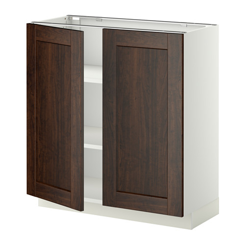 METOD - base cabinet with shelves/2 doors, white/Edserum brown | IKEA Hong Kong and Macau - PE353768_S4