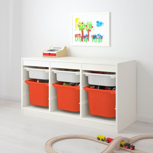 TROFAST - storage combination with boxes, white white/orange | IKEA Hong Kong and Macau - 19335512_S4