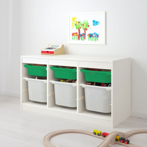 TROFAST - storage combination with boxes, white green/white | IKEA Hong Kong and Macau - 99335532_S4