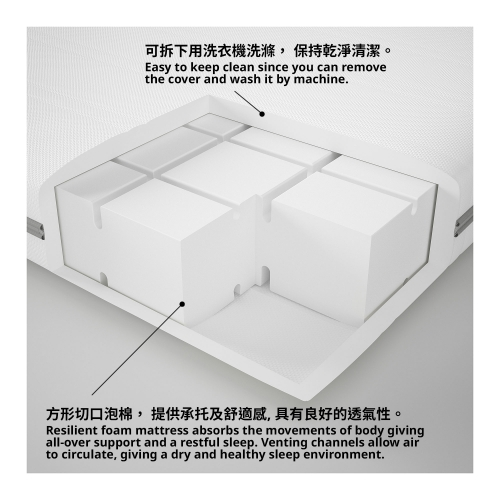 MALVIK - foam mattress, medium firm/double | IKEA Hong Kong and Macau - 60272248_S4
