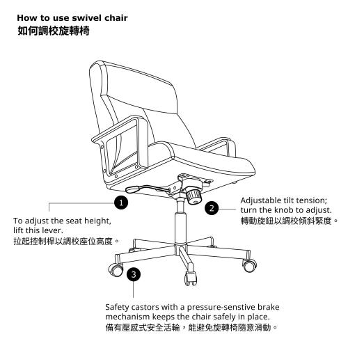 MILLBERGET - swivel chair, Kimstad white   IKEA Hong Kong and Macau - 00339416_S4