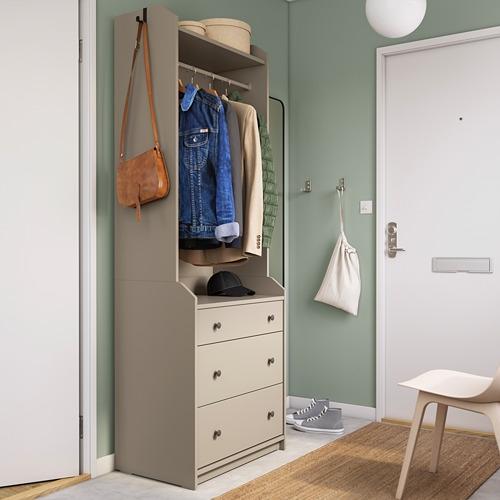 HAUGA - 開放式衣櫃連3抽屜, 米黃色   IKEA 香港及澳門 - 70456925_S4
