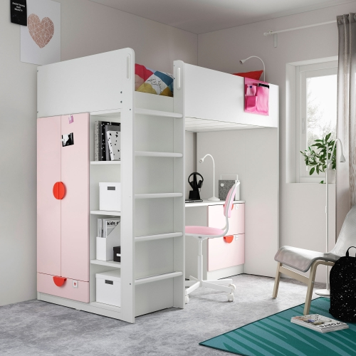 SMÅSTAD - loft bed, white pale pink/with desk with 3 drawers | IKEA Hong Kong and Macau - 99391472_S4
