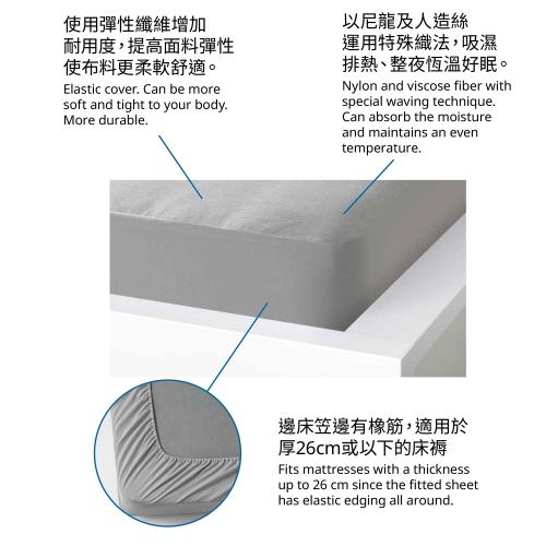 BRUDBORSTE - 標準雙人床笠, 灰色   IKEA 香港及澳門 - 00506014_S4