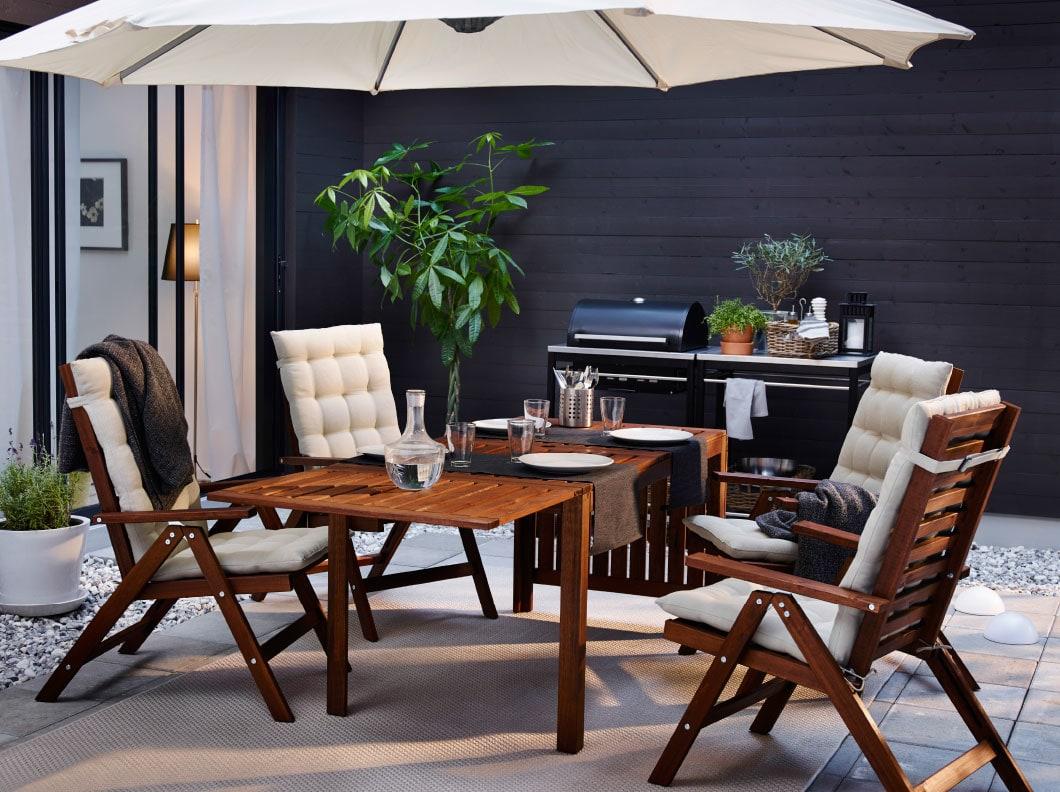 IKEA-ÄPPLARÖ戶外檯連摺椅組合