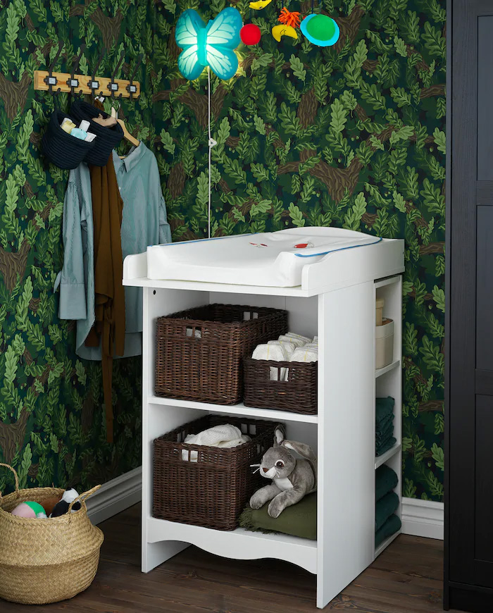 ikea changing table, ikea bookshelf