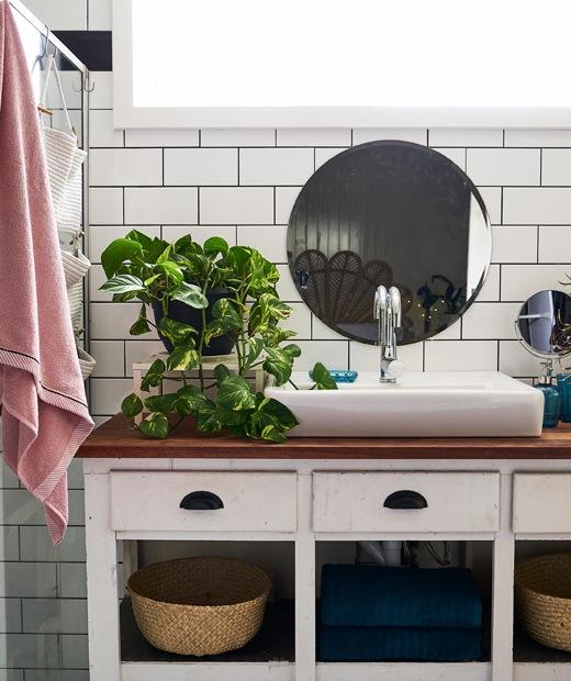 木枱面白色洗手盆櫃上有一個白色大洗手盆和盆栽,上方白色瓷磚牆上掛有一面圓鏡。