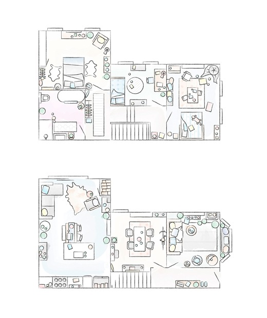 A floorplan of Katty's home in a renovated Victorian house