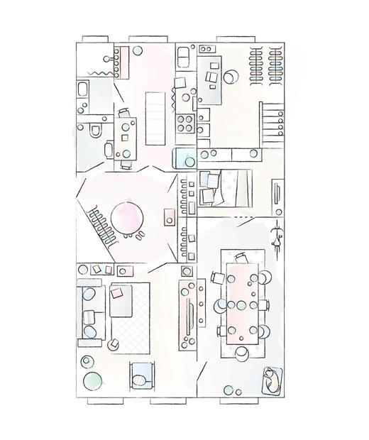 Julia及André的公寓平面圖。