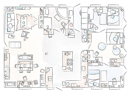 A floorplan of Claudia and Bernd's family home.