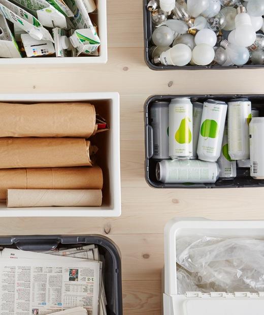 以回收箱分類的紙皮、卡紙、報紙、燈膽、鋁罐和塑膠。