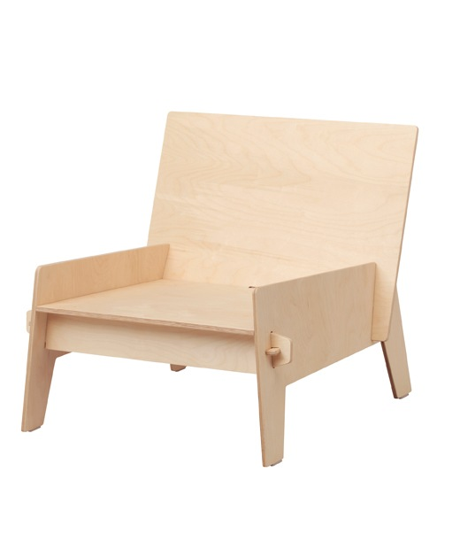A plywood armchair on a white background.