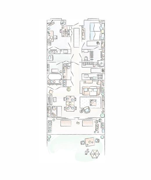 Mieko的家居平面圖。