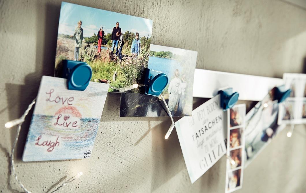 夾在掛桿的照片和圖片特寫。