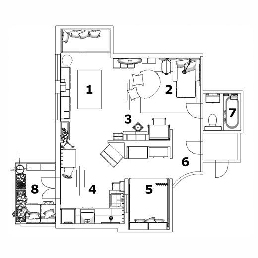 兩父子的公寓平面圖。
