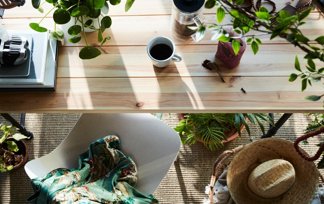 早餐檯放滿人造和真的植物,例如FEJKA人造盆栽。