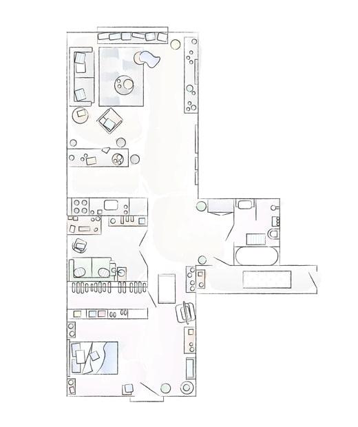 A floorplan of Katarzyna and Mikolaj's apartment.