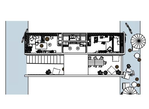 兩間貨櫃屋的平面圖。