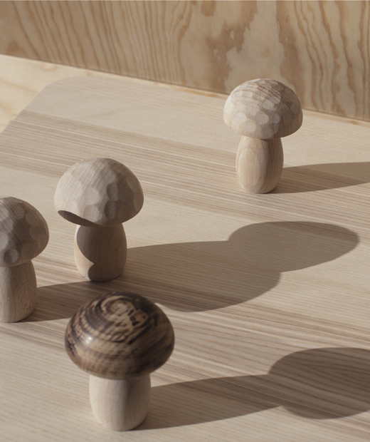 Wooden mushroom shapes standing on a wooden surface.