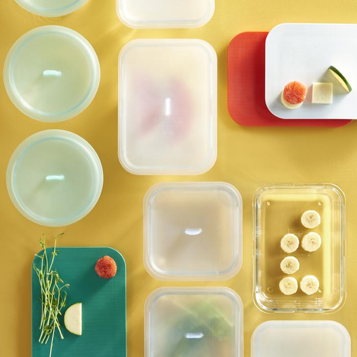 一覽不同形狀及大小的連蓋食物盒。