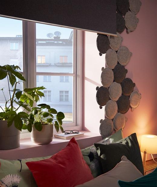 睡床旁的窗戶安裝了遮光捲軸簾,旁邊圍上多塊圓形小吸音板。