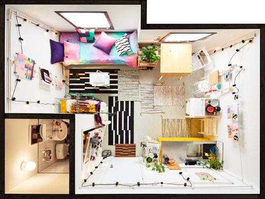 布置好的小公寓(鳥瞰圖)