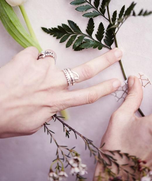 用淨色圖案和紙膠紙將花莖貼在白色牆壁。